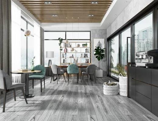 书吧, 餐厅, 桌椅组合, 植物