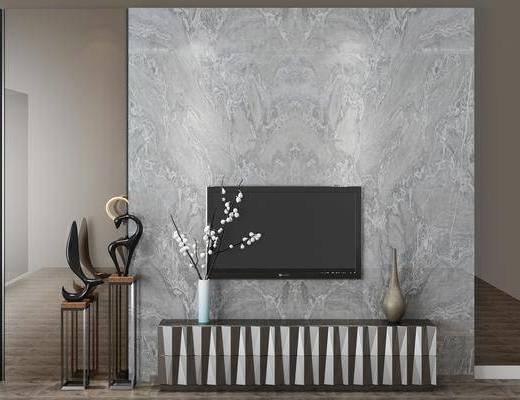 電視柜, 擺件組合, 花瓶盆栽
