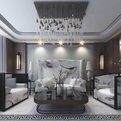 新中式, 客厅, 沙发组合, 新中式客厅, 水晶吊灯, 中式茶几, 中式沙发