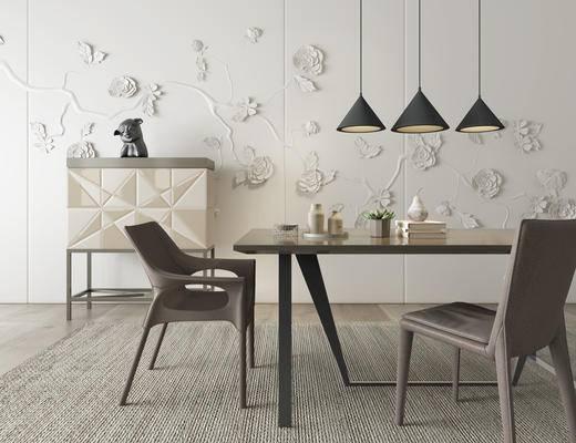 现代, 餐桌, 桌椅, 组合