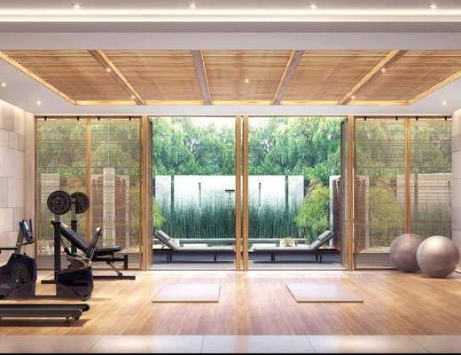 健身房, 健身器材, 新中式
