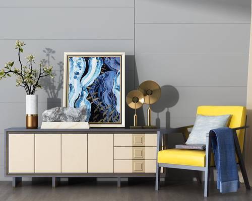 装饰柜, 装饰画, 花瓶, 摆件, 椅子