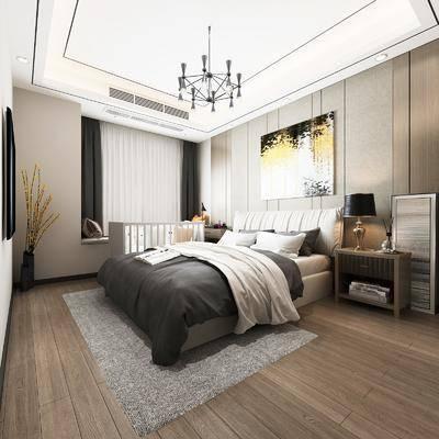 卧室, 双人床, 床头柜, 台灯, 装饰画, 挂画, 吊灯, 现代