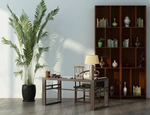 书房, 书柜, 书桌, 单人椅, 台灯, 装饰柜, 盆栽, 书籍, 装饰品, 陈设品, 现代