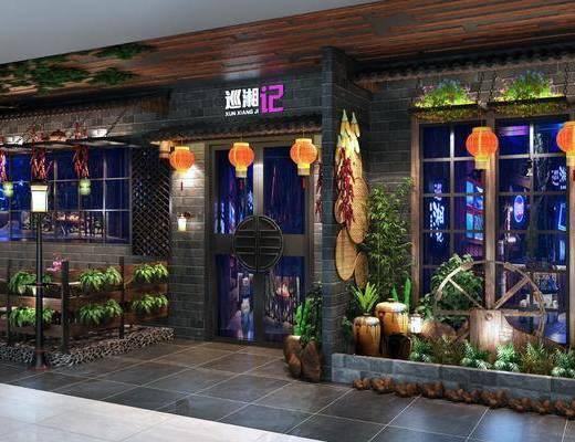餐厅, 门面, 门头, 新中式