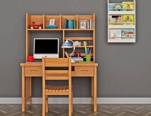 书桌, 桌椅组合, 书籍, 电脑桌, 装饰画