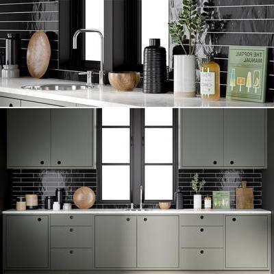 厨房, 橱柜, 厨具, 餐具, 陶瓷, 窗户, 摆件, 现代, 厨柜