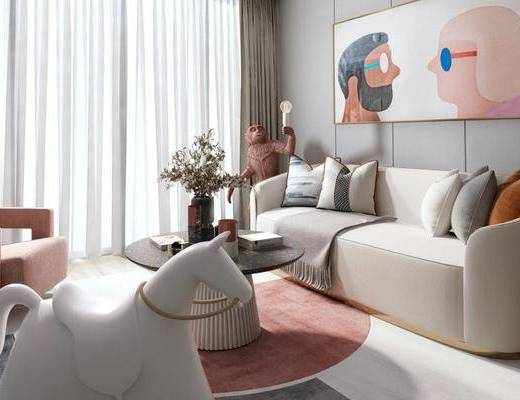 沙发组合, 装饰画, 茶几, 单椅, 摆件组合, 装饰品, 抱枕