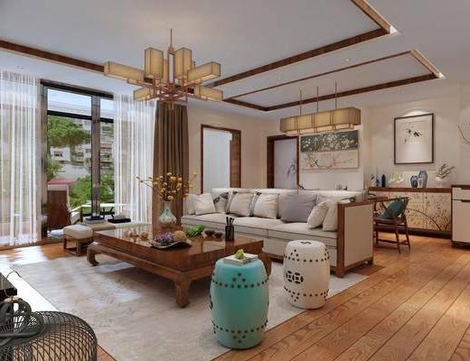 客厅, 多人沙发, 茶几, 凳子, 吊灯, 餐桌, 餐椅, 单人椅, 边柜, 餐边柜, 摆件, 装饰品, 陈设品, 装饰画, 挂画, 新中式