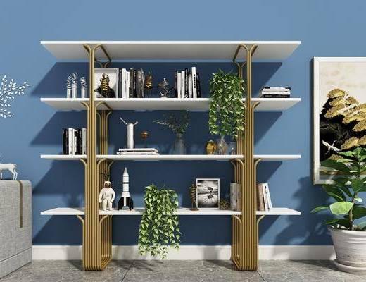 现代装饰书柜, 书籍, 盆栽, 边柜
