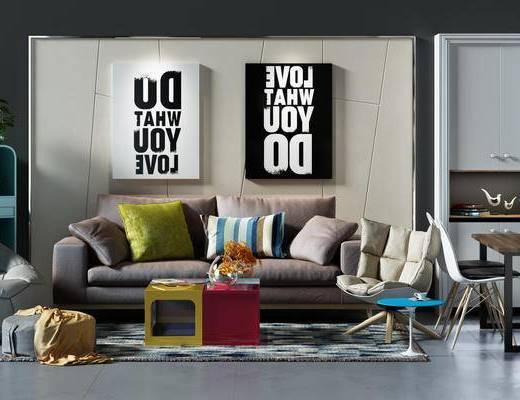 沙发组, 沙发背景墙, 背景墙, 餐桌椅组合, 餐桌, 桌椅组合, 桌椅, 沙发凳, 沙发椅, 休闲沙发