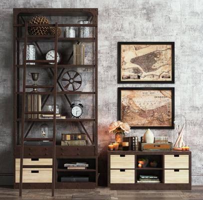边柜, 装饰画, 摆件组合, 置物架