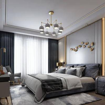 现代卧室, 现代, 卧室, 布艺床, 床头柜, 椅子, 吊灯