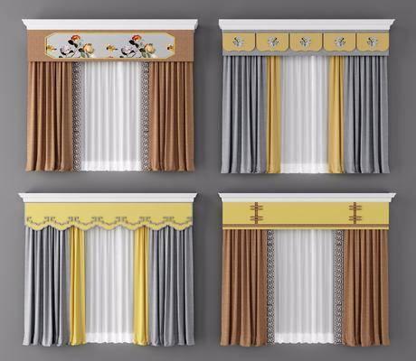窗帘, 新中式窗帘, 新中式, 布艺