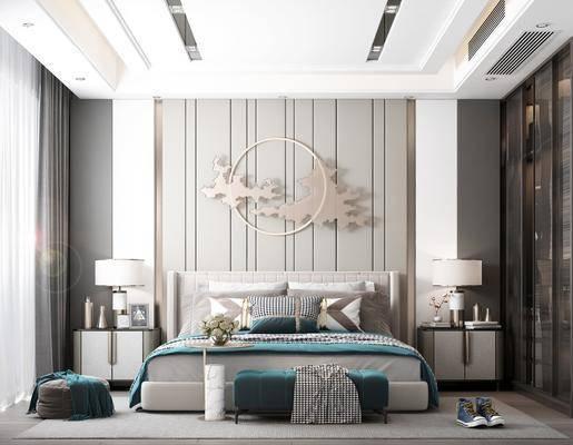装饰画, 床头柜, 墙饰, 地毯, 椅子, 窗帘, 衣柜, 台灯