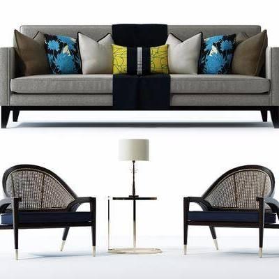 沙发组合, 现代, 布艺沙发, 椅子, 圆几, 台灯