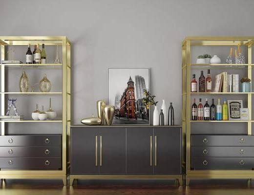 柜架组合, 现代金属柜架组合, 摆件组合, 装饰柜, 置物柜, 现代