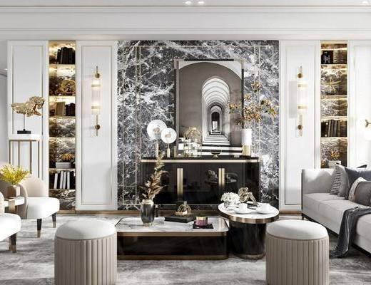 沙發組合, 茶幾, 背景墻, 單椅, 裝飾品, 邊柜, 擺件組合