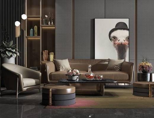 装饰画, 沙发组合, 单椅, 茶几, 边几, 台灯