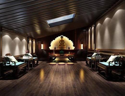 佛堂, 单人沙发, 边几, 佛像, 装饰品, 陈设品, 新中式