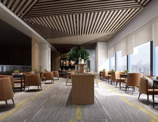 咖啡厅, 圆桌椅组合, 餐桌椅组合, 现代