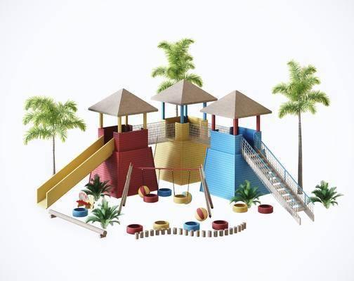 户外, 玩具设施, 3d模型, 单体, 滑滑梯