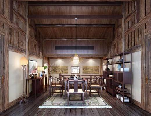 茶室, 中式, 新中式, 吊灯, 桌椅组合