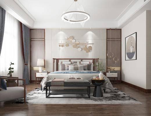 新中式卧室, 双人床, 吊灯, 墙饰, 床头柜, 台灯, 休闲椅