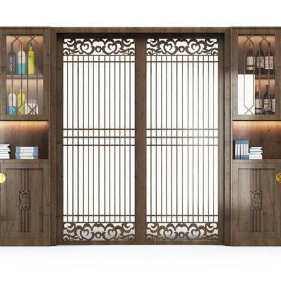 酒柜, 装饰边柜, 摆件, 推拉门, 中式