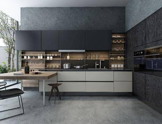 厨房, 橱柜, 餐桌, 单人椅, 凳子, 摆件, 装饰品, 陈设品, 洗手台, 现代