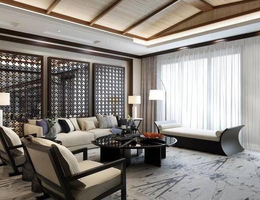 中式, 新中式, 客厅, 沙发, 地毯, 禅意