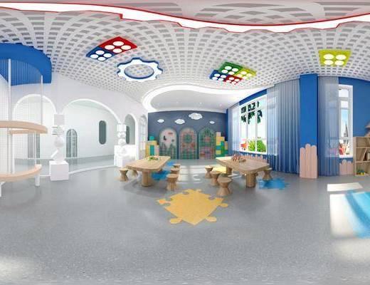 幼儿园, 现代, 建构室, 工装