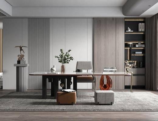 现代, 简约, 书房, 家装