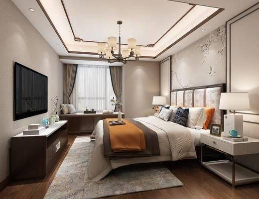 卧室, 双人床, 床头柜, 台灯, 电视柜, 边柜, 吊灯, 摆件, 装饰品, 陈设品, 新中式