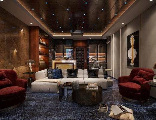 现代, 影音室, 休闲椅, 边几, 屏幕