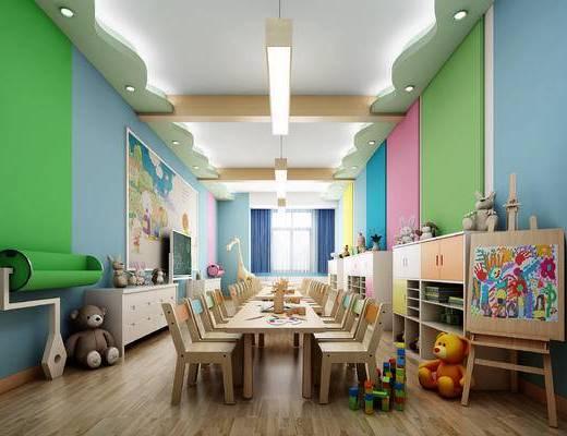 幼儿园, 美术室, 儿童, 娱乐室, 装饰柜, 玩具, 画架