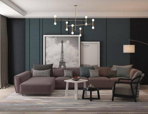 现代, 转角沙发, 边几, 吊灯, 装饰画