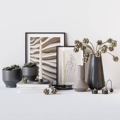 花卉花瓶, 花瓶花卉, 摆件组合, 装饰画, 挂画, 现代
