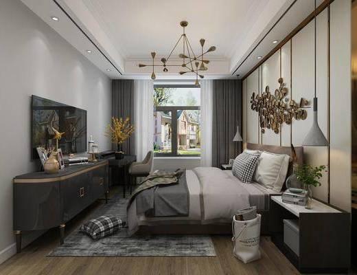 卧室, 现代卧室, 床具组合, 摆件组合, 墙饰, 书桌, 吊灯, 单椅, 电视柜, 现代