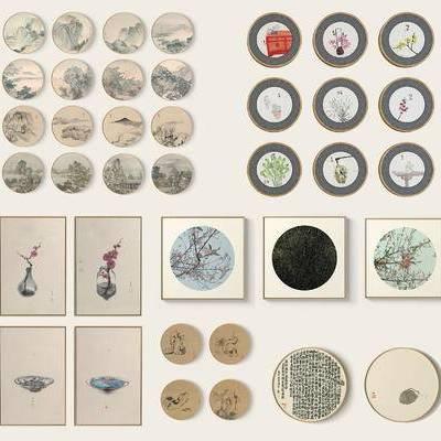 新中式禅意圆形挂画, 墙饰, 装饰画