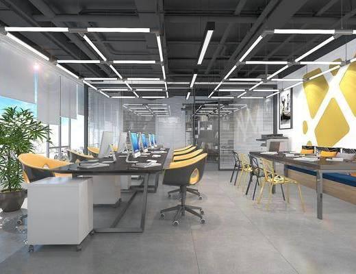 办公区, 工业风办公区, 通风管道, 桌椅组合, 办公桌, 植物, 盆栽, 工业风