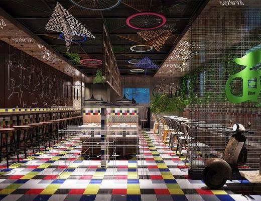 餐厅面馆, 单人椅, 吊灯, 餐桌, 餐椅, 绿植植物, 植物墙, 工业风