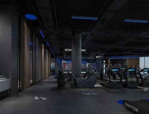 跑步机, 现代健身房, 边柜, 现代