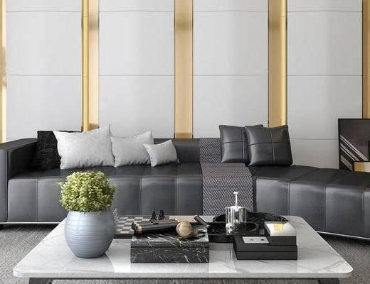 客厅, 沙发茶几组合, 茶具组合, 植物盆栽, 现代