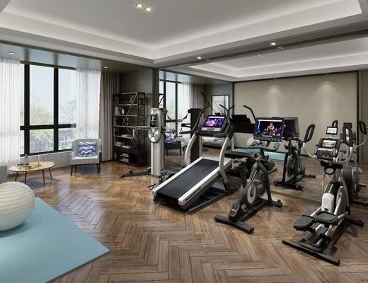 健身器材, 单人沙发, 边几, 现代