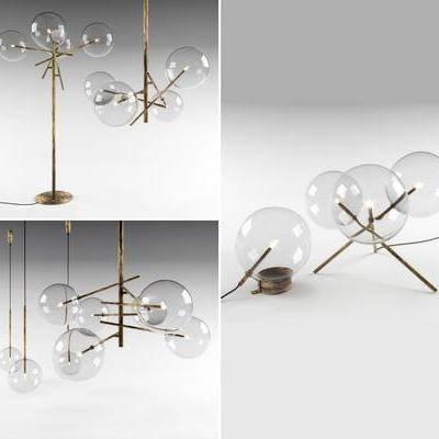 现代吊灯落地灯装饰灯组合, 现代, 台灯, 落地灯