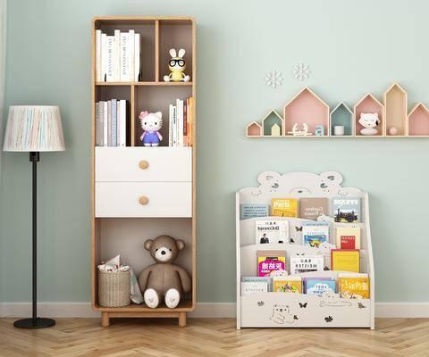 书柜, 书籍, 墙饰, 落地灯, 玩具