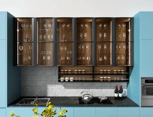 桌椅组合, 橱柜, 摆件, 现代桌椅组合, 现代橱柜, 烤箱, 现代