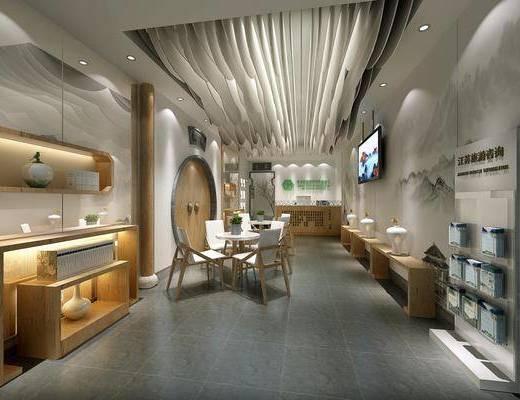 旅游展厅, 展览展厅, 前台, 桌子, 单人椅, 盆栽, 绿植, 植物, 中式
