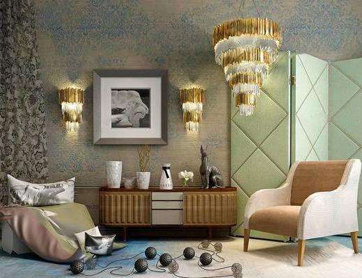 电视柜, 边柜, 摆件组合, 吊灯, 单椅, 壁灯, 装饰画